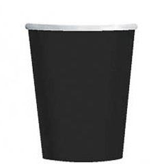 Vasos Negros cartón encerado 266 ml, Pack 8 u.