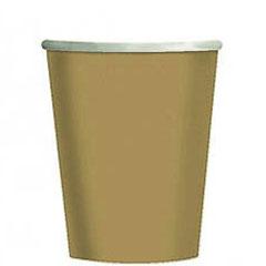 Vasos Dorados cartón encerado 266 ml, Pack 8 u.