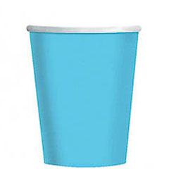 Vasos Turquesa cartón encerado 266 ml, Pack 8 u.