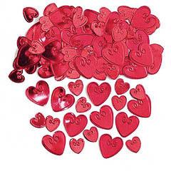 Confeti metálico corazones grabados