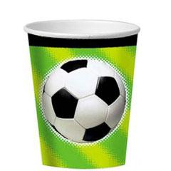 Vasos Fútbol cartón encerado 266 ml, Pack 8 u.