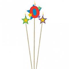 Vela cumpleaños número 0 y dos estrellas con palo