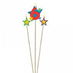 Vela cumpleaños número 6 y dos estrellas con palo
