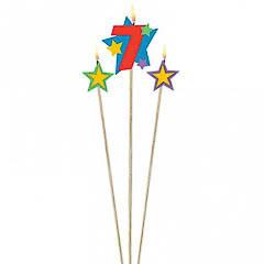 Vela cumpleaños número 7 y dos estrellas con palo