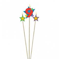 Vela cumpleaños número 9 y dos estrellas con palo