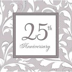 Servilletas 25 aniversario 33 x 33 cm, Pack 16 u.