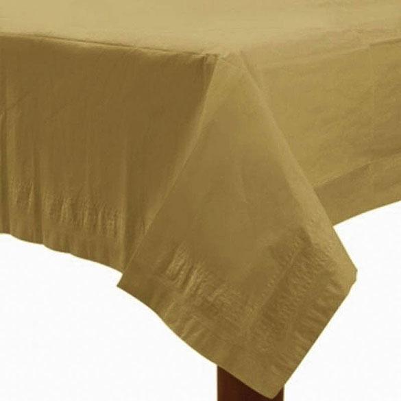 Mantel liso dorado 274 x 137 cm impermeable, Pack 1 u.