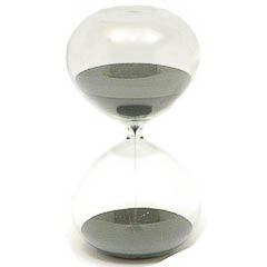 Reloj de arena de cristal arena negra 1 hora