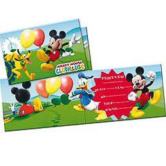 Invitaciones cumpleaños Mickey Mouse, Pack 6 u.