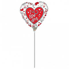 Globo Corazón I Love You con palo