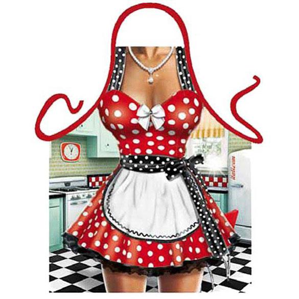 Delantal de cocina divertido, gracioso, camarera sexy años 60