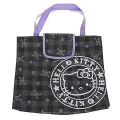 Bolsa Hello Kitty de nylon negra morada y gris