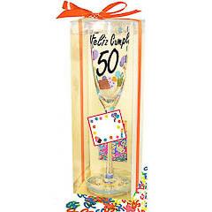 Copa cava o champagne y confeti 50 años