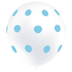 Globos blancos con lunares Azules, Pack 8 unidades