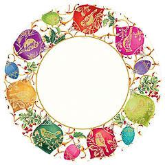 Platos Ornamentos Ivory Navidad, Pack 8 u.