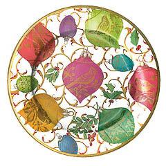 Platos Ornamentos Ivory Navidad 20,50 cm, Pack 8 u.