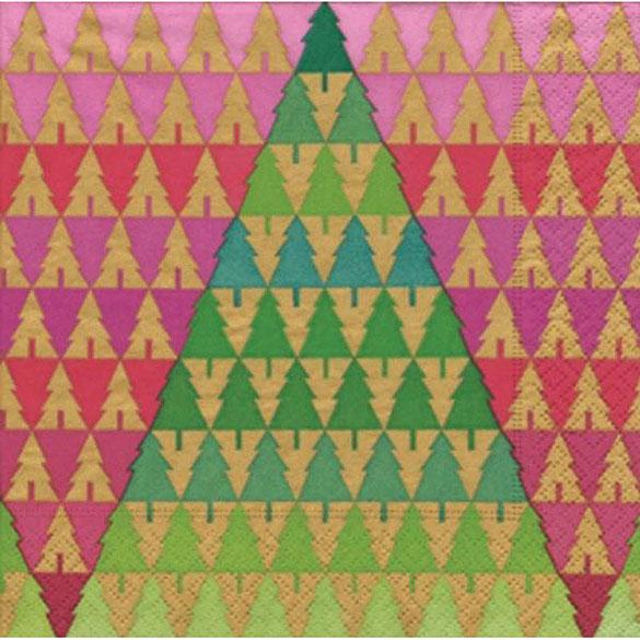 Servilletas Árboles Navidad 33 x 33 cm, Pack 20 u.