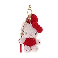 Llavero muñeca Hello Kitty peluche rojo