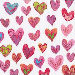 Pack 20 servilletas corazones 25 x 25 cm