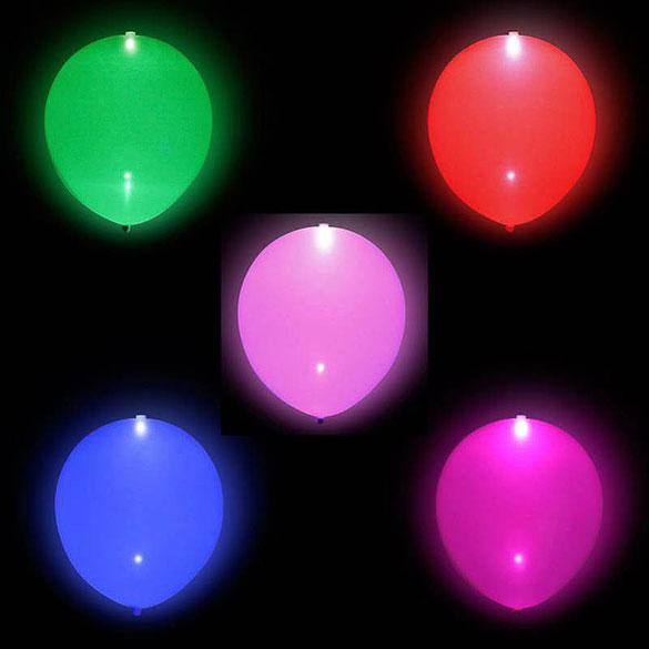 Globos de Látex Luz Led de colores surtidos. Pack 5 unidades