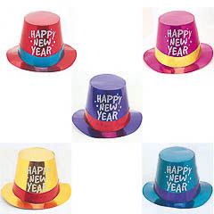 Chistera de cartón Happy New Year metalizada de colores