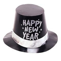 Chistera de cartón negra Happy New Year