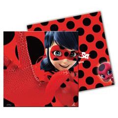 Servilletas desechables Ladybug 33 x 33 cm, Pack 20 u