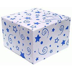 Caja para globo blanca con lunares azules