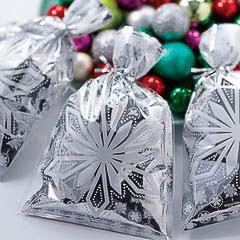 Bolsas metalizadas copos de nieve golosinas y galletas, Pack 20 u.