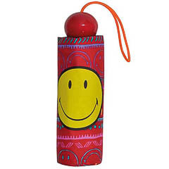 Paraguas plegable Smiley Face rojo con dibujos