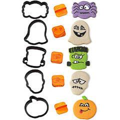 Set 5 cortadores con 5 sellos caras Halloween Wilton