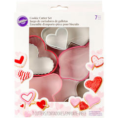 Set 7 cortadores de galletas corazones Wilton