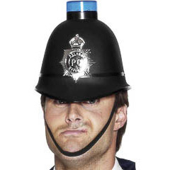 Casco policía inglés con luz