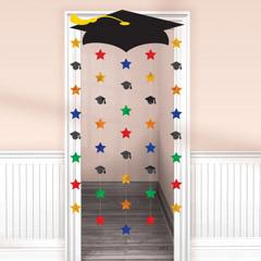 Decoración cortina puerta graduación