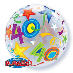 Globo transparente decorado burbuja 40 años