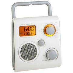 Radio reloj termómetro para ducha blanca botones grises