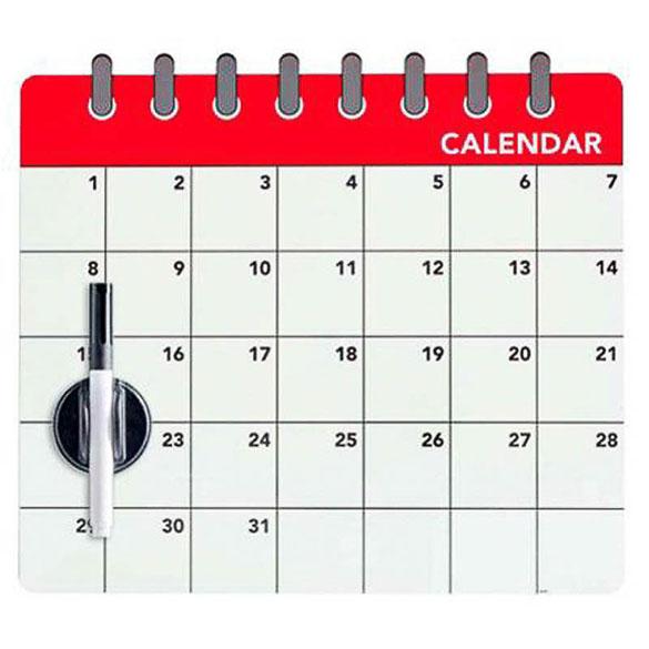 Pizarra magnética calendario mensual con rotulador