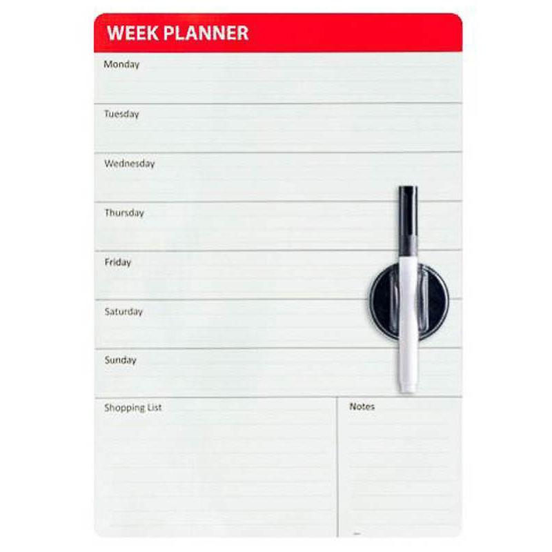 Pizarra magnética calendario semanal con rotulador