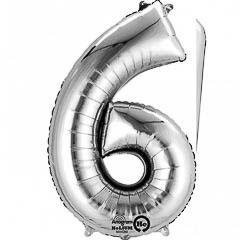 Globo Nº 6 con forma plateado