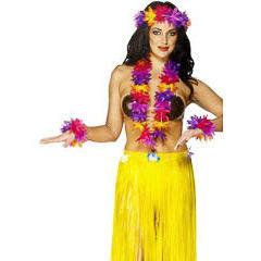 Set hawaiana flores tonos morados