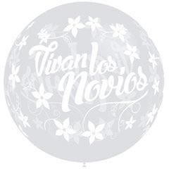 Globo Vivan los Novios transparente texto blanco, 60 cm
