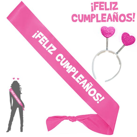 Banda y diadema feliz cumpleaños rosa