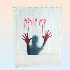 Cortina de baño Help Me con sangre