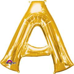 Globo letra A con forma dorado