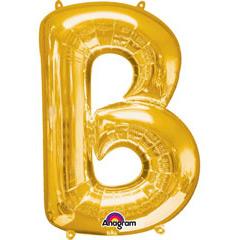 Globo letra B con forma dorado