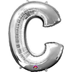 Globo letra C con forma plateado