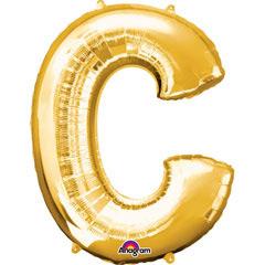 Globo letra C con forma dorado
