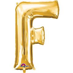 Globo letra F con forma dorado