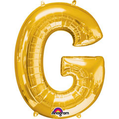 Globo letra G con forma dorado