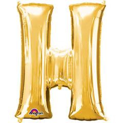 Globo letra H con forma dorado